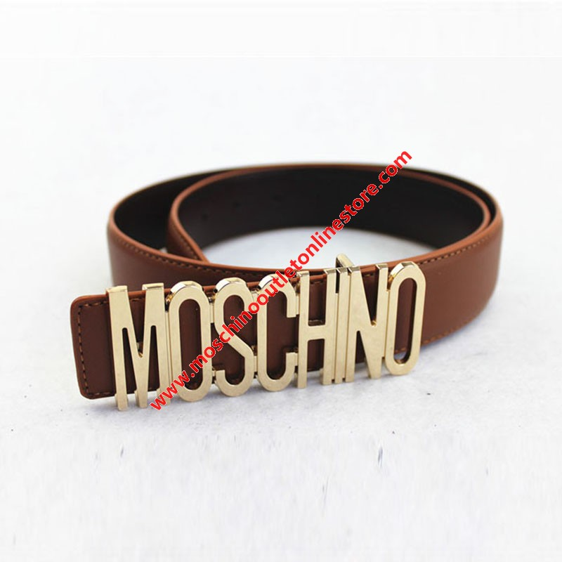 Moschino Logo Buckle Women Large Leather Belt Brown