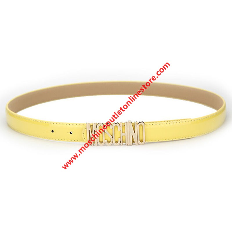 Moschino Logo Buckle Women Small Patent Leather Belt Yellow