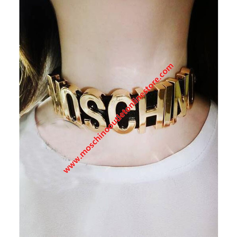 Moschino Logo Letters Women Leather Necklace Black