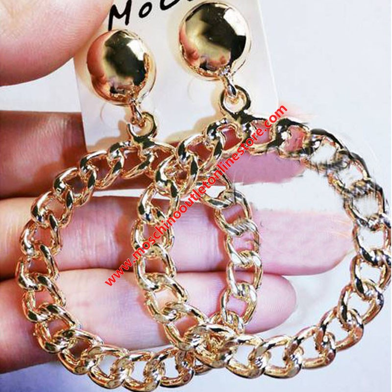 Moschino Chain Circle Women Earrings Gold