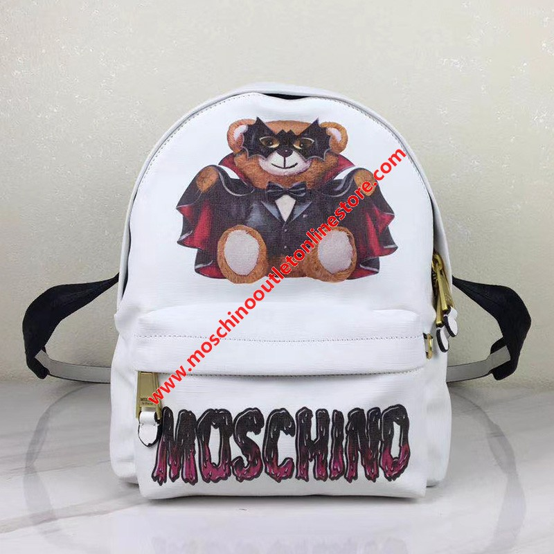 Moschino Bat Teddy Bear Women Faux Leather Backpack White