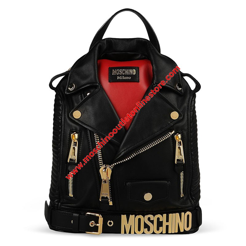 Moschino Biker Jacket Women Large Leather Backpack Black
