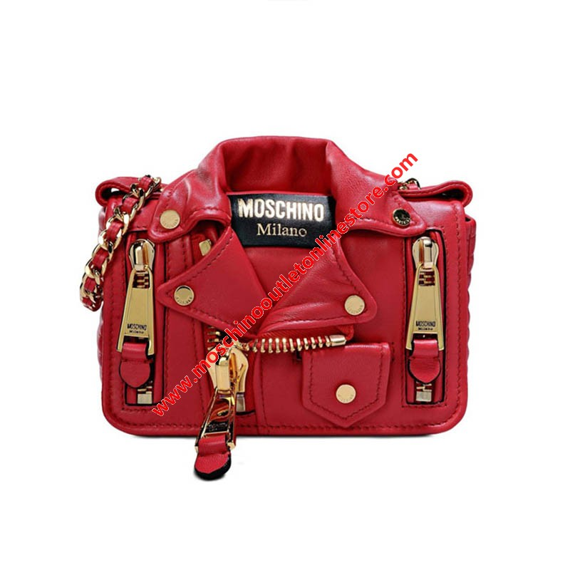 Moschino Biker Jacket Women Small Leather Shoulder Bag Red