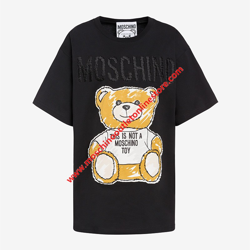 Moschino Brushstroke Teddy Bear Women Short Sleeves T-Shirt Black