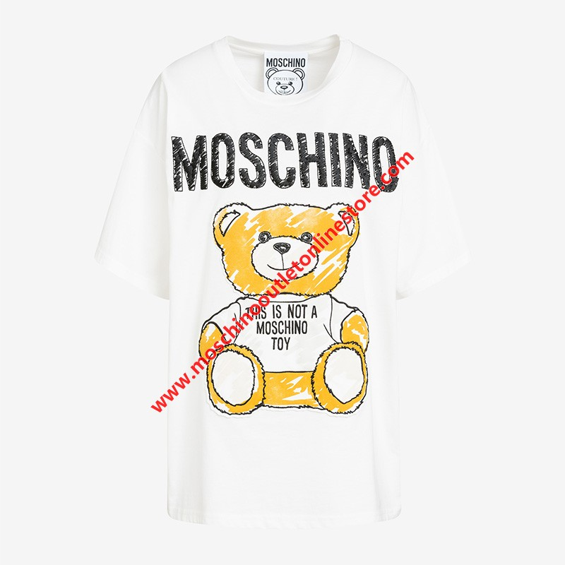 Moschino Brushstroke Teddy Bear Women Short Sleeves T-Shirt White
