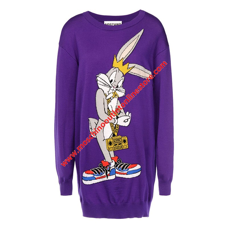 Moschino Looney Tunes Bugs Bunny Women Long Sleeves Short Dress Purple