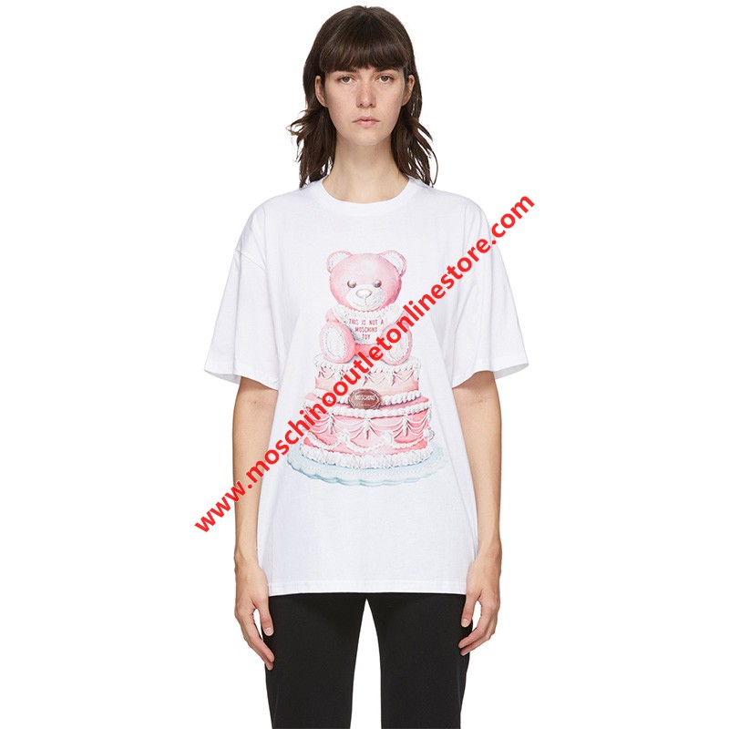 Moschino Cake Teddy Bear Women Short Sleeves T-Shirt White