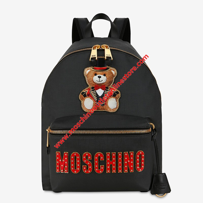 Moschino Circus Teddy Women Leather Backpack Black