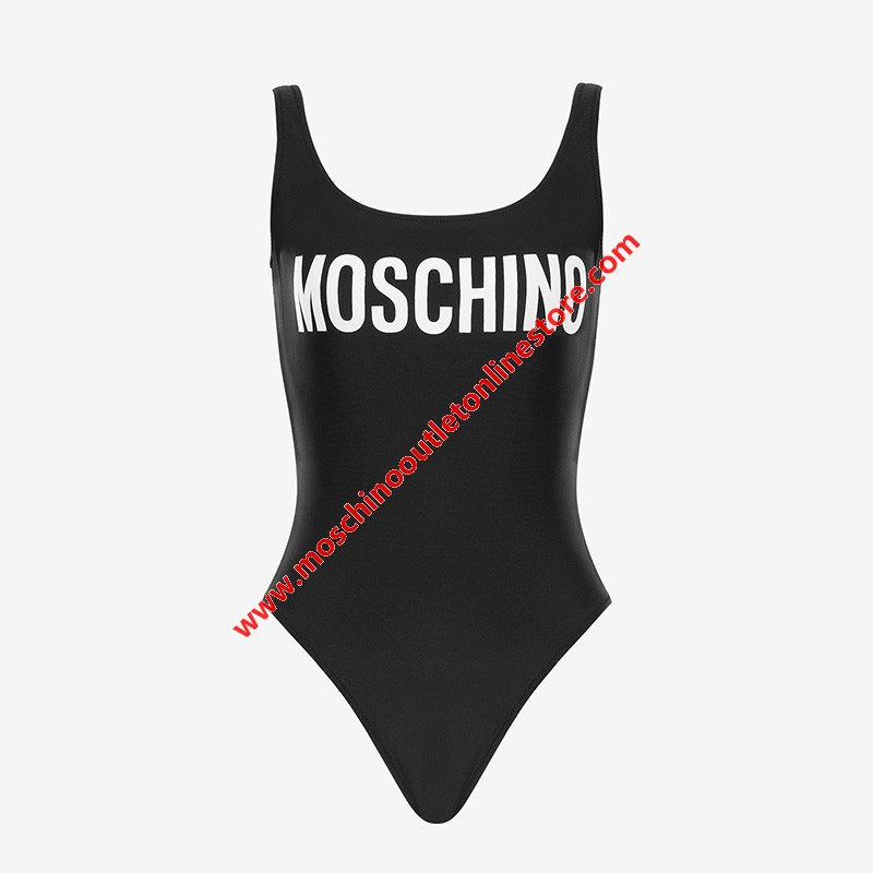 Moschino Contrasting Logo Women Swimsuit Black