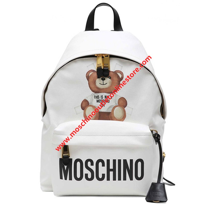 Moschino Cross Bear Women Large Leather Backpack White