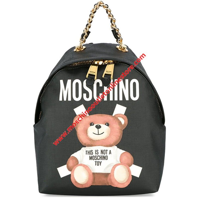 Moschino Cross Bear Women Medium Leather Backpack Black