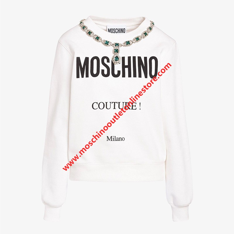Moschino Crystal Necklace Women Long Sleeves Sweater White