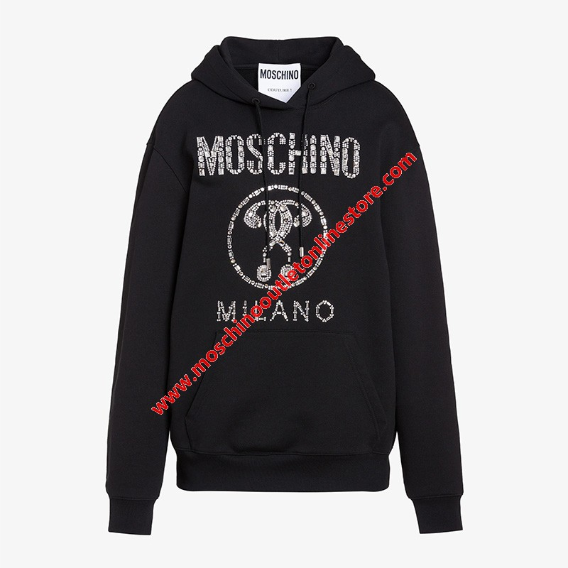 Moschino Crystal Question Women Long Sleeves Sweatshirt Black