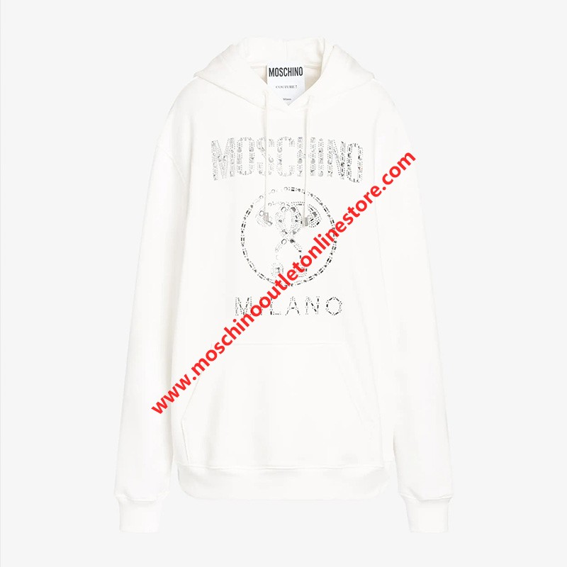 Moschino Crystal Question Women Long Sleeves Sweatshirt White