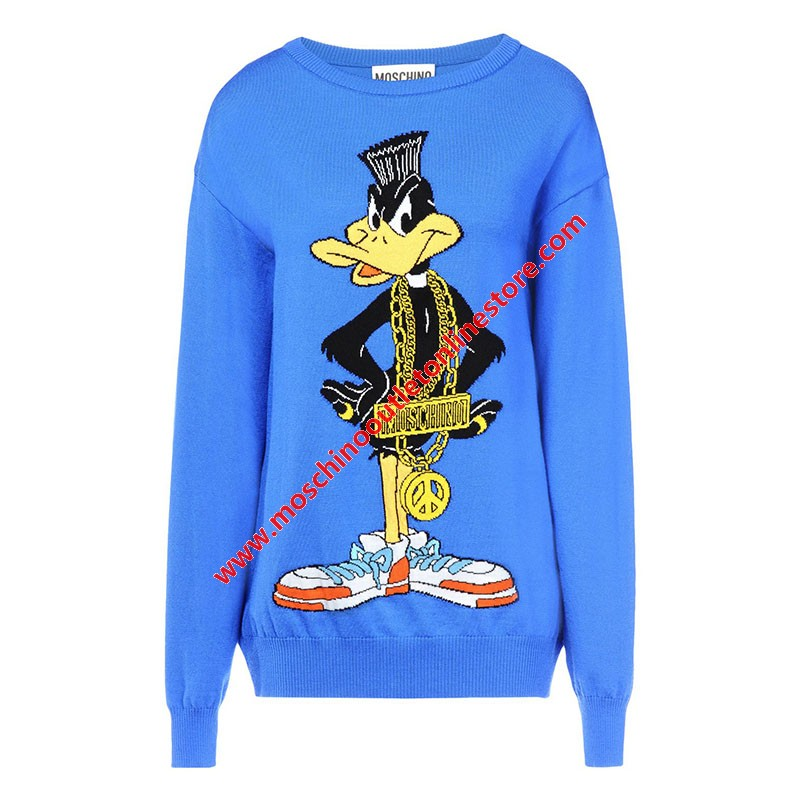 Moschino Looney Tunes Daffy Duck Women Long Sleeves Sweater Blue