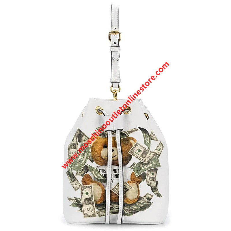 Moschino Dollar Teddy Bear Women Leather Bucket Bag White