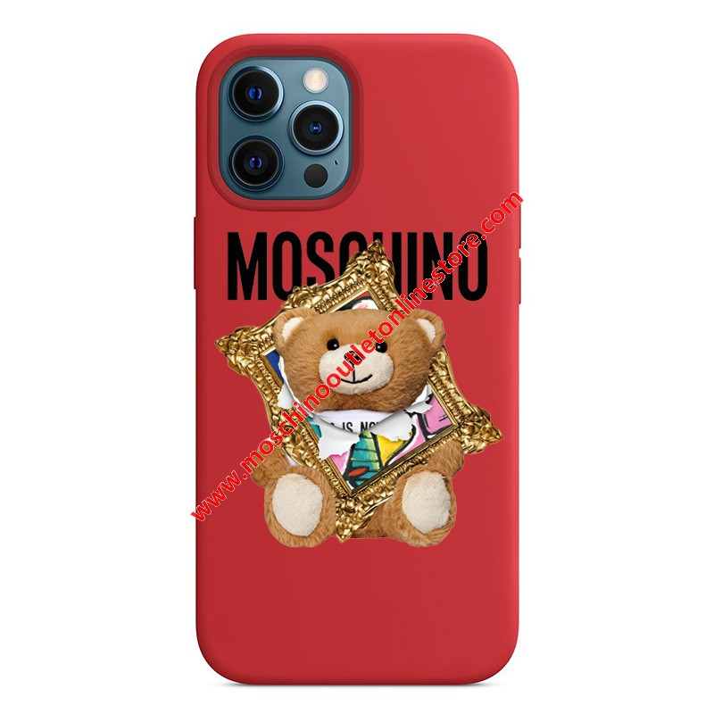 Moschino Frame Teddy Bear iPhone Case Red