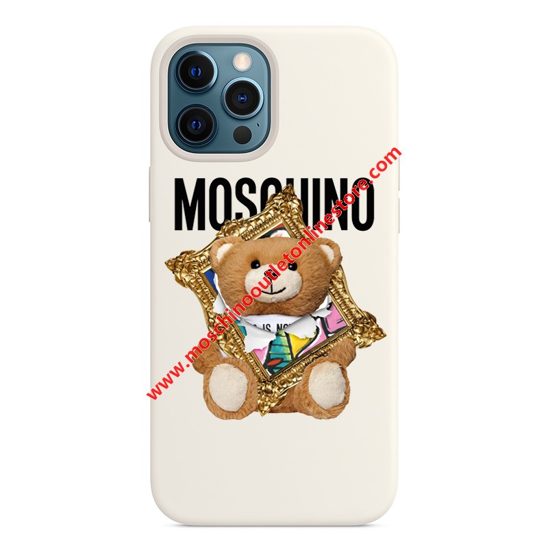 Moschino Frame Teddy Bear iPhone Case White