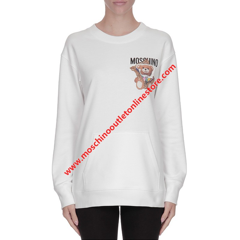 Moschino Frame Teddy Bear Women Long Sleeves Sweater White