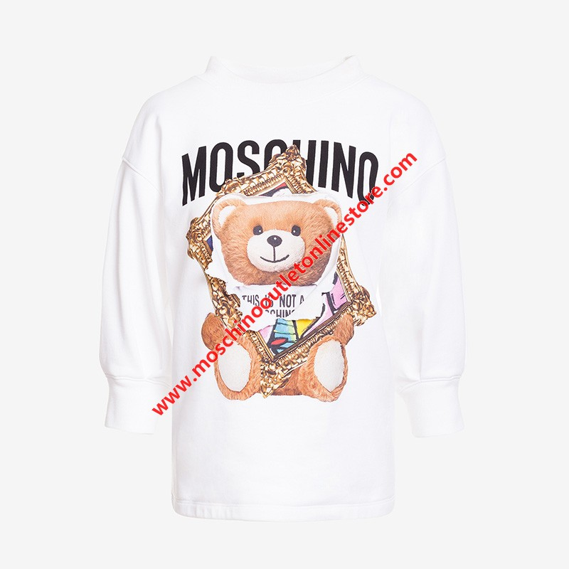 Moschino Frame Teddy Bear Women Three-quarter Sleeves Sweater White