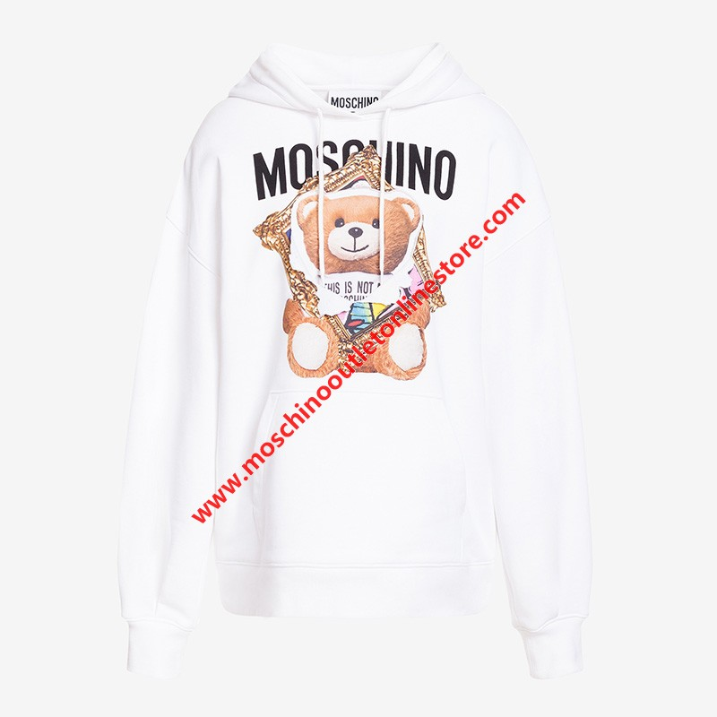 Moschino Frame Teddy Bear Women Long Sleeves Sweatshirt White