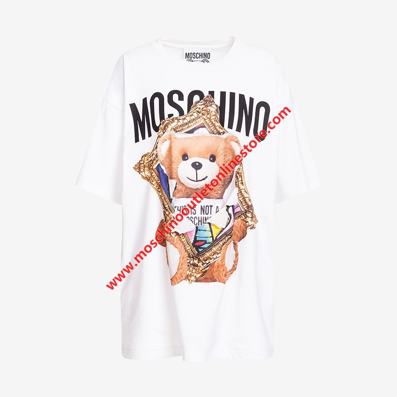 Moschino Frame Teddy Bear Women Short Sleeves T-Shirt White