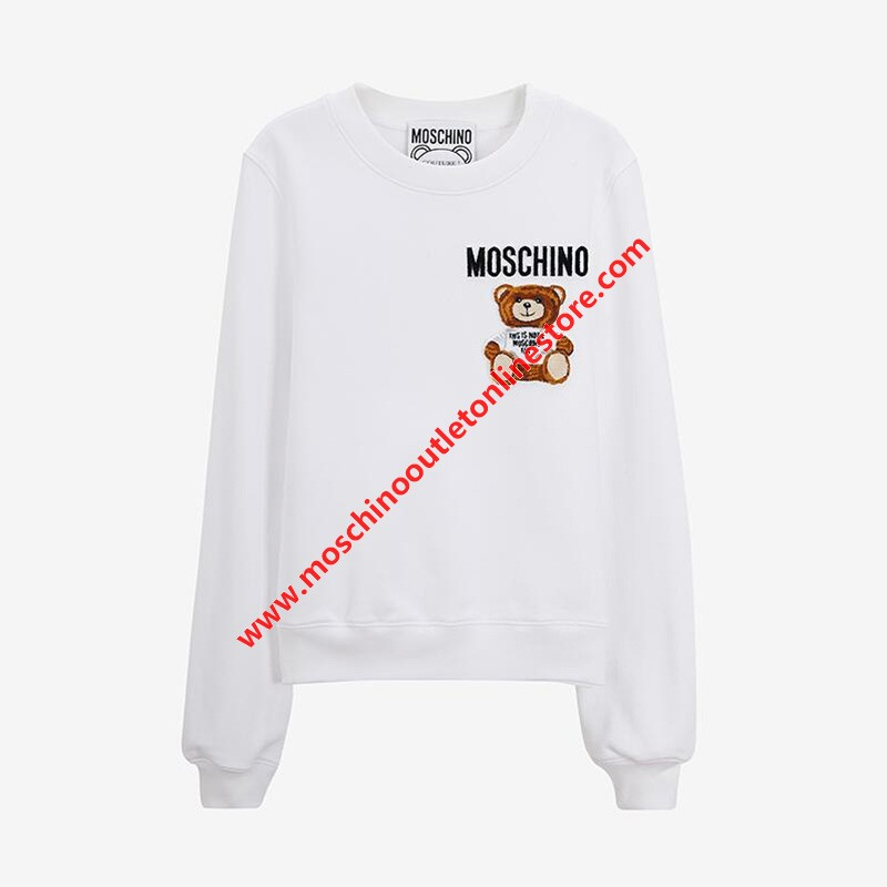 Moschino Furry Teddy Bear Women Long Sleeves Sweater White