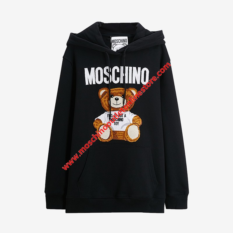 Moschino Furry Teddy Bear Women Long Sleeves Sweatshirt Black