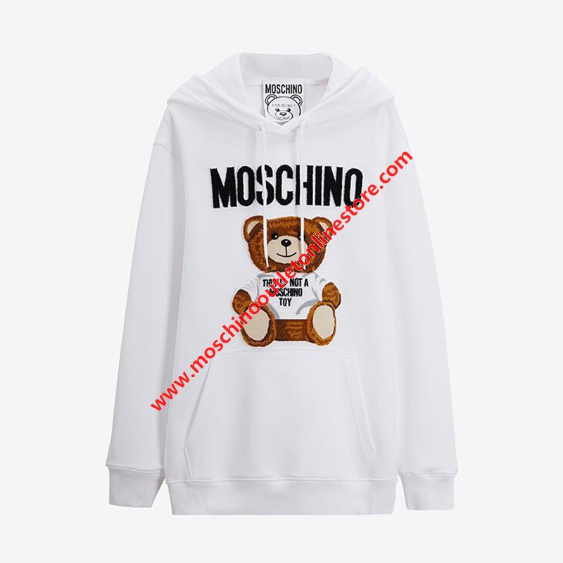 Moschino Furry Teddy Bear Women Long Sleeves Sweatshirt White