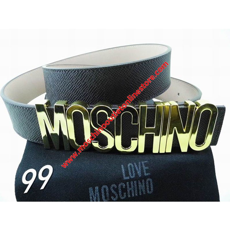 Moschino Logo Buckle Women Large Embossed Leather Belt Black