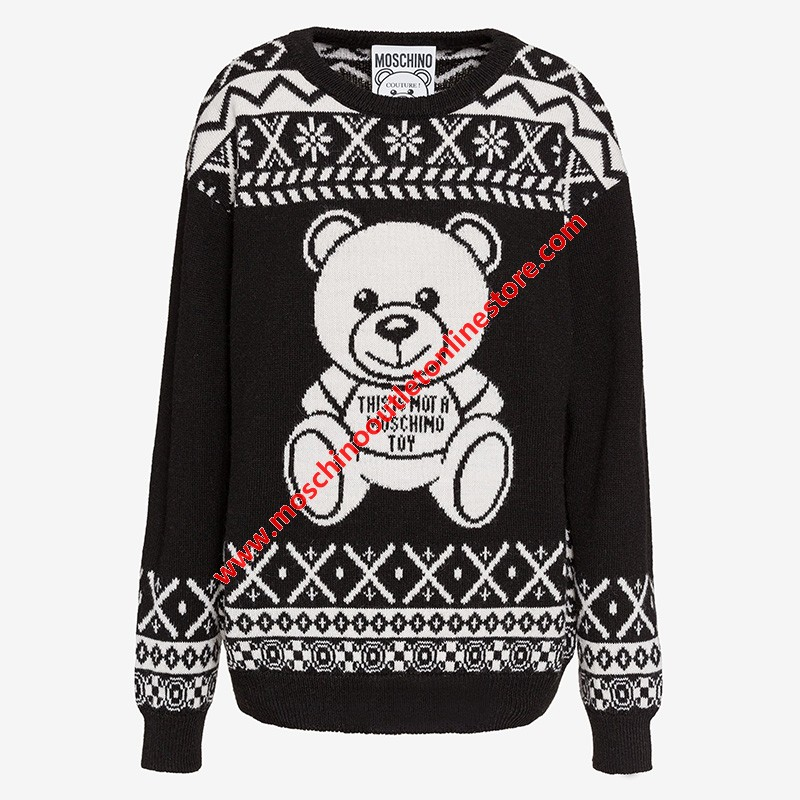 Moschino Jacquard Teddy Bear Women Long Sleeves Pullover Black