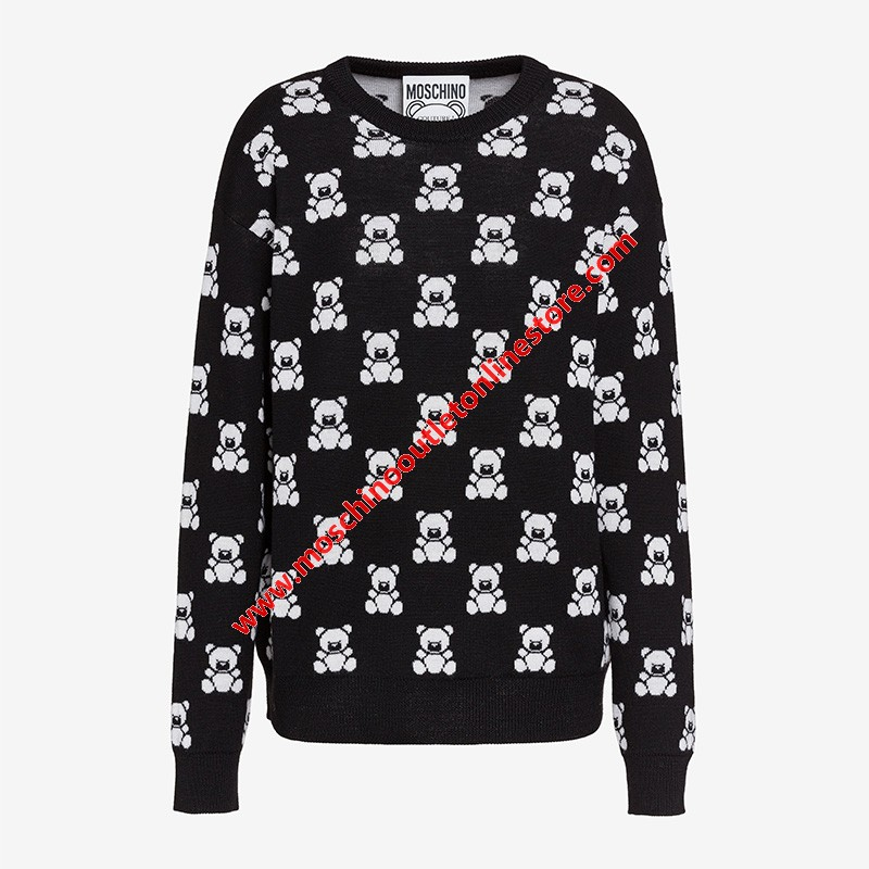 Moschino Jacquard Teddy Bear Women Long Sleeves Sweater Black
