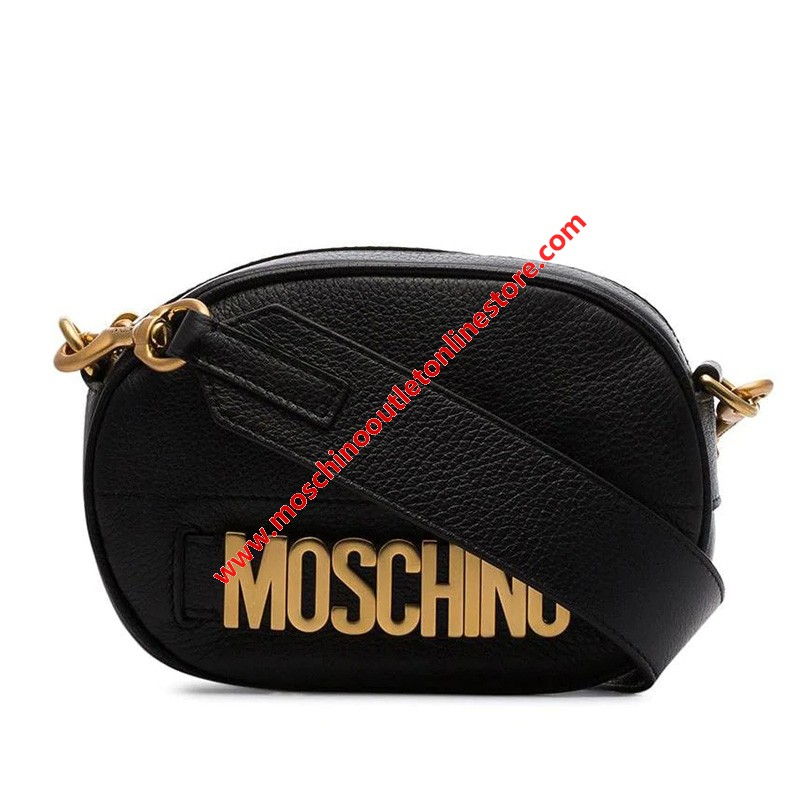 Moschino Lettering Logo Women Small Leather Shoulder Bag Black