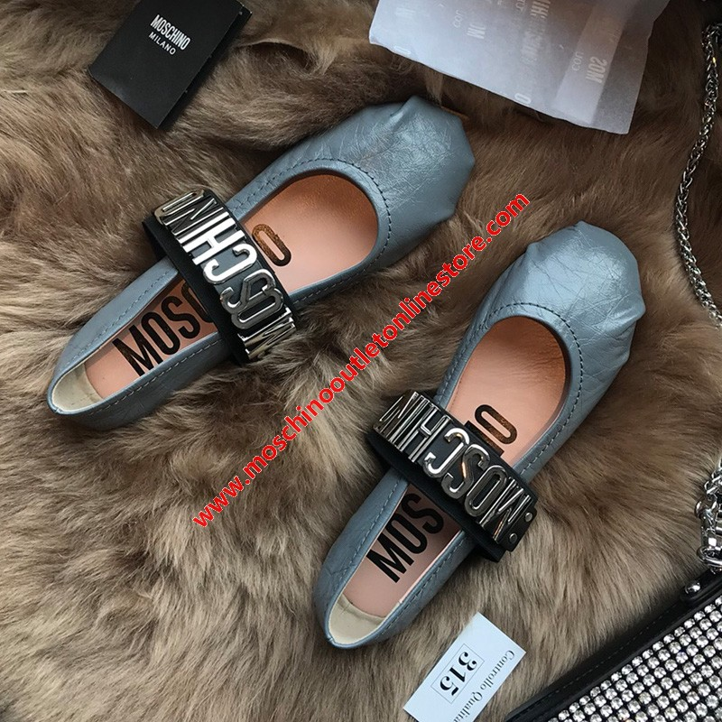 Moschino Logo Women Leather Ballerina Shoes Teal