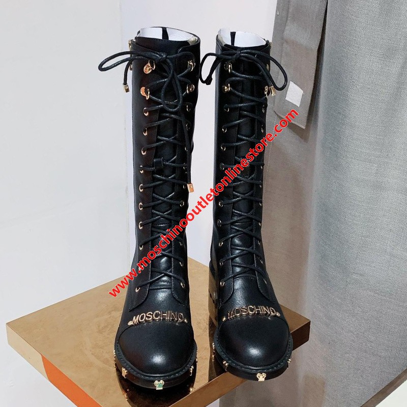 Moschino Logo Women Leather High Top Combat Boots Black