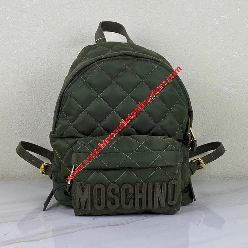Moschino Logo Women Quilted Techno Fabric Backpack Green