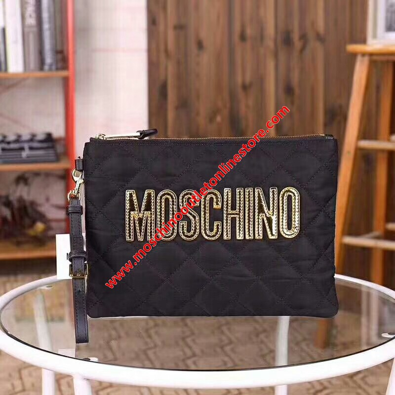 Moschino Logo Women Quilted Techno Fabric Clutch Black/Gold