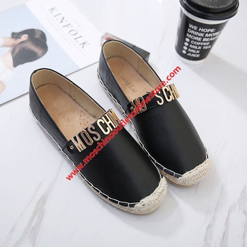 Moschino Logo Women Flat Shoes Black