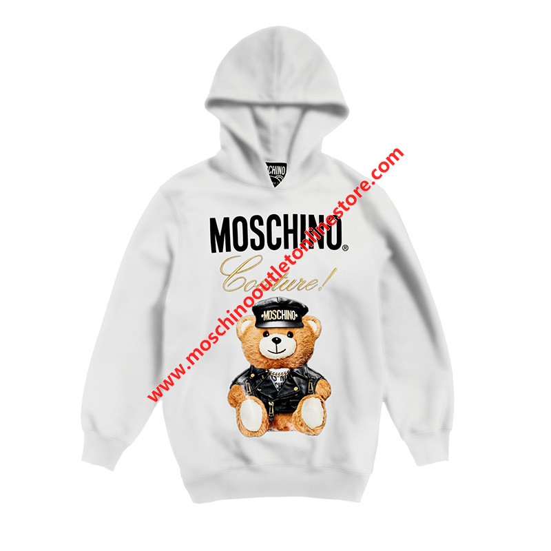 Moschino Loves Printemps Bear Women Long Sleeves Sweatshirt White