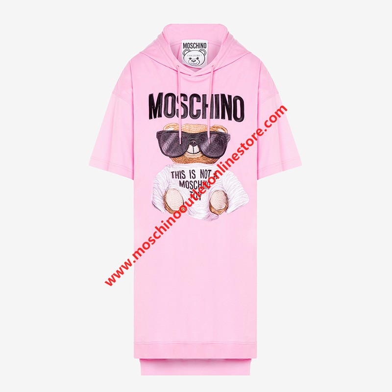Moschino Micro Teddy Bear Women Long Sleeves Jersey Dress Pink