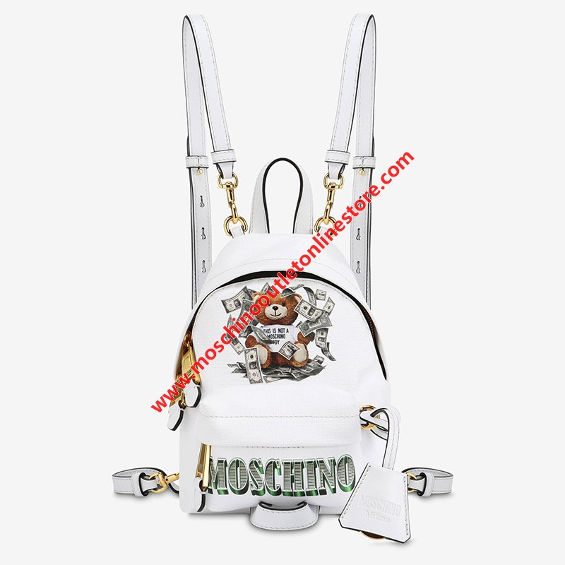 Moschino Dollar Teddy Bear Women Mini Leather Backpack White