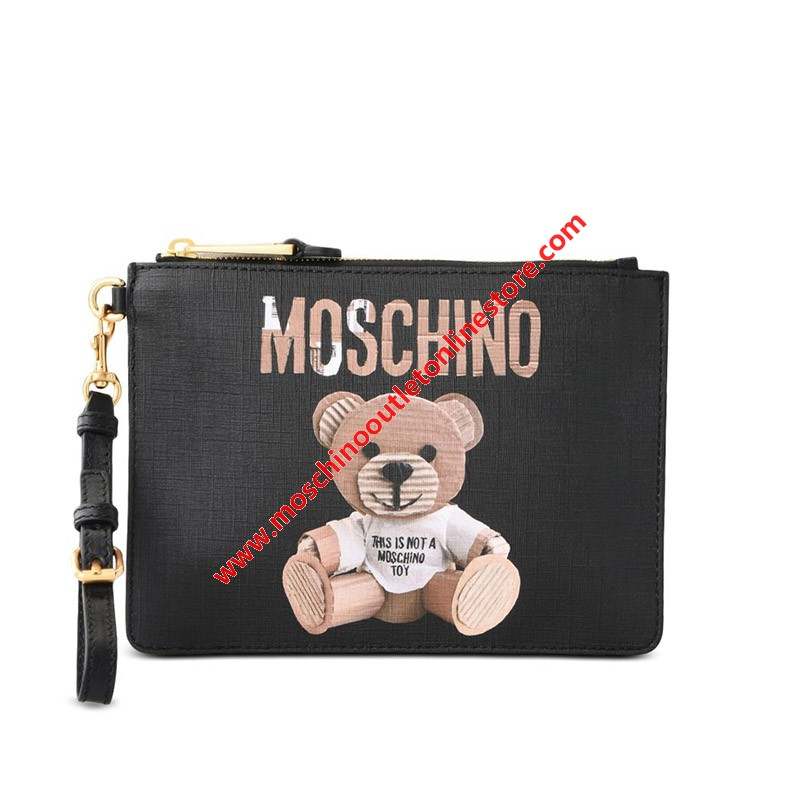 Moschino Paper Bear Women Leather Clutch Black