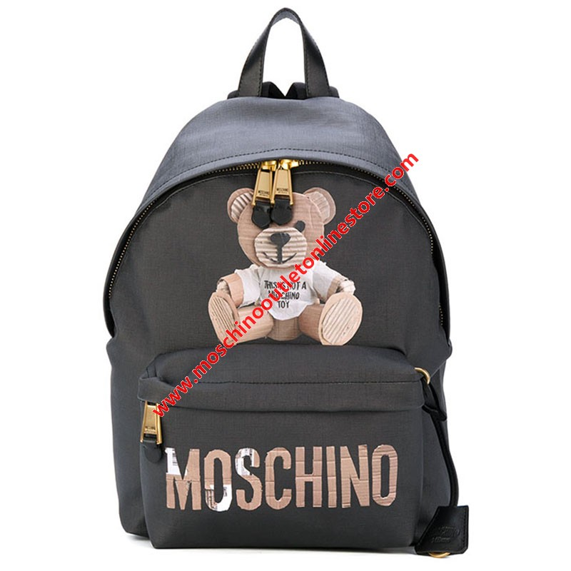 Moschino Paper Bear Women Leather Backpack Black