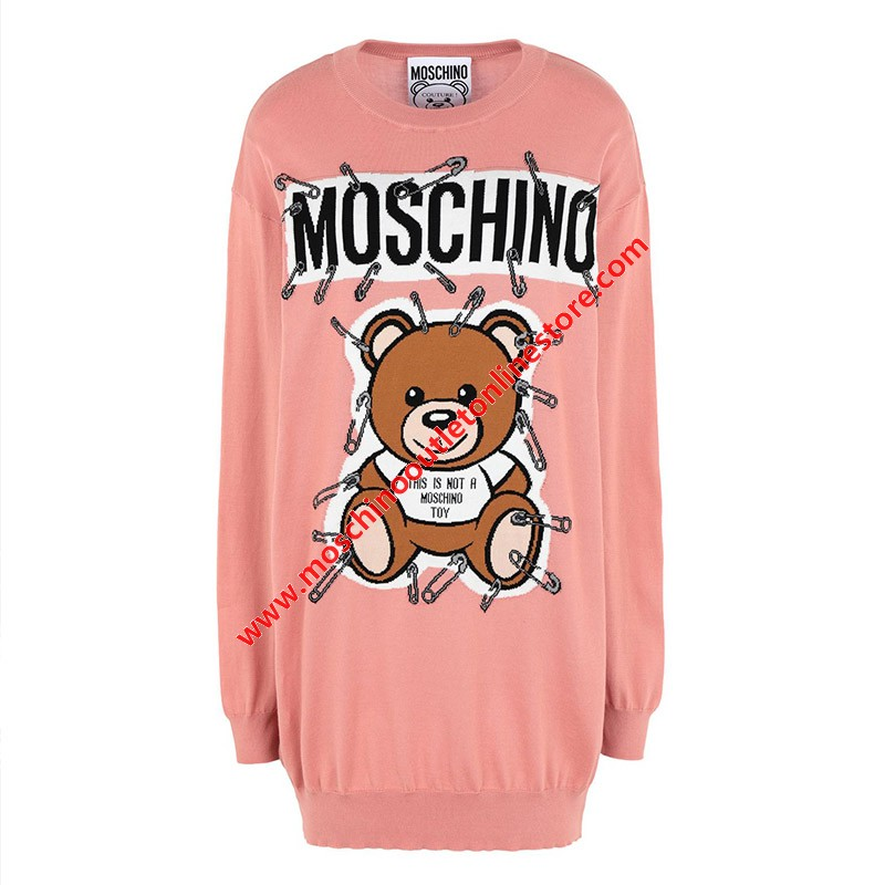 Moschino Safety Pin Teddy Women Long Sleeves Minidress Pink