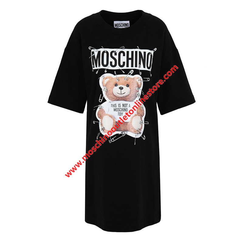 Moschino Safety Pin Teddy Women Short Sleeves Short Dress Black