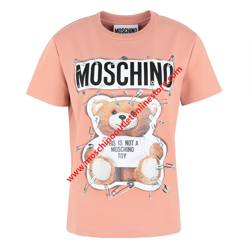 Moschino Safety Pin Teddy Women Short Sleeves Slim T-Shirt Pink