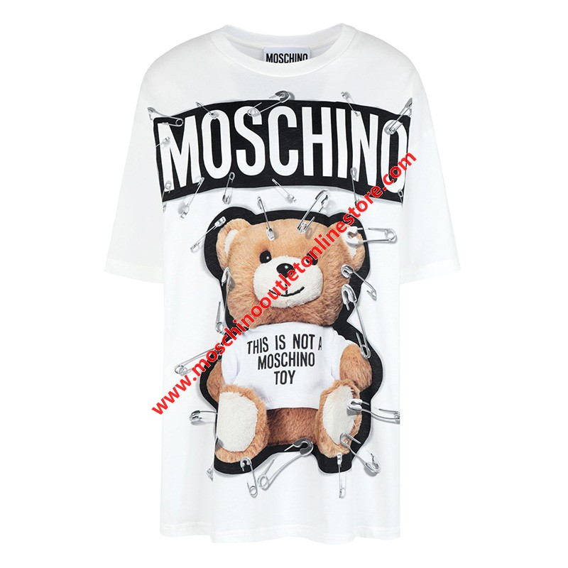 Moschino Safety Pin Teddy Women Short Sleeves T-Shirt White
