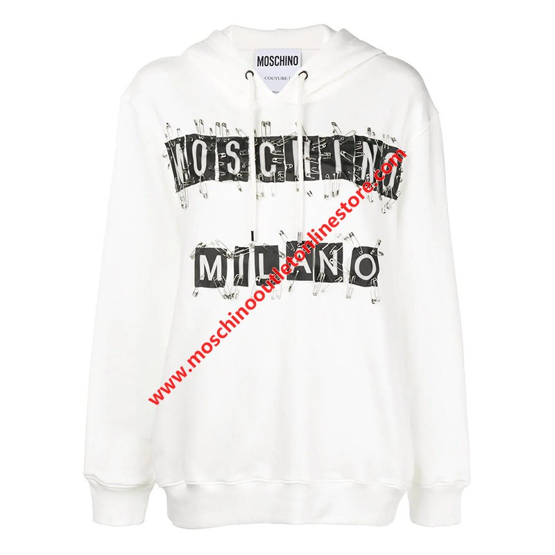 Moschino Safety Pin Tags Women Long Sleeves Sweatshirt White