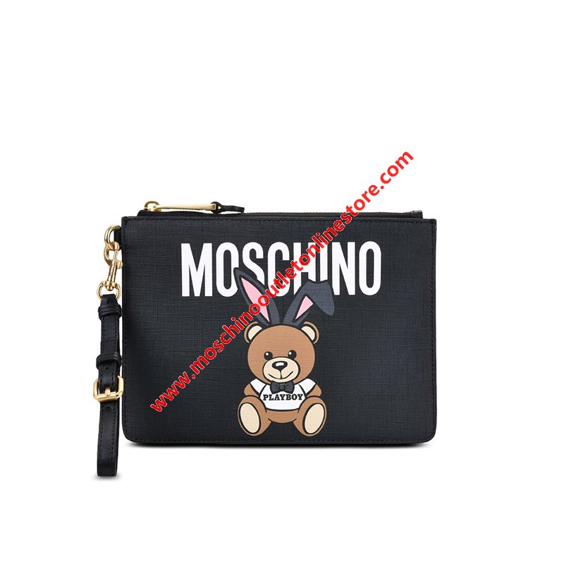 Moschino Playboy Bear Women Leather Clutch Black