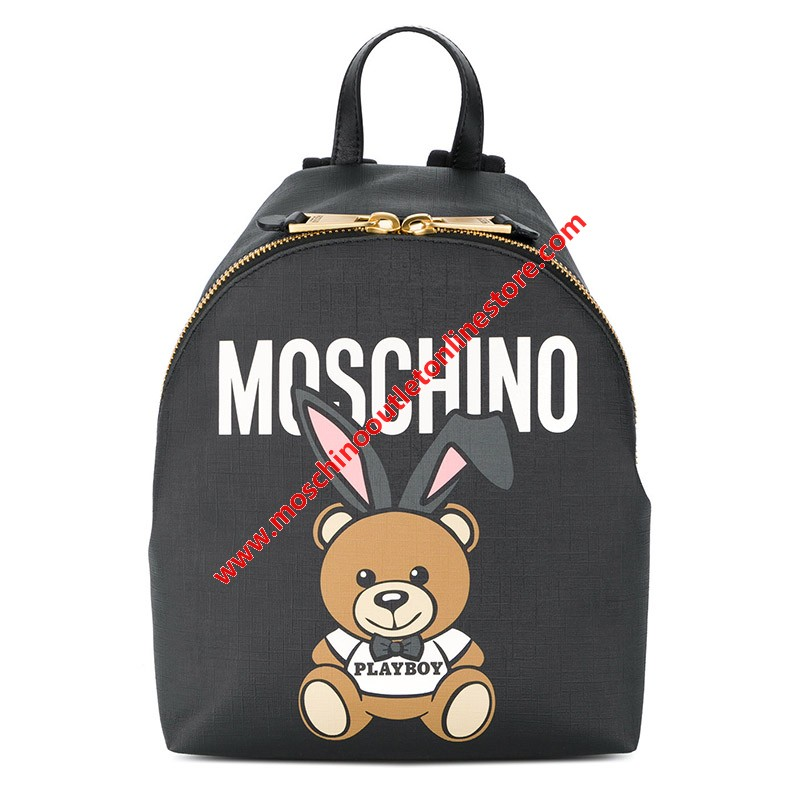 Moschino Playboy Bear Women Medium Leather Backpack Black